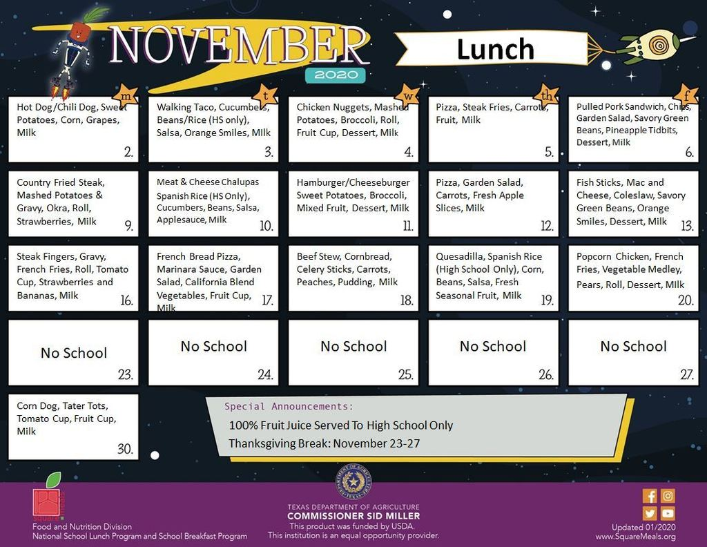 Nov lunch menu