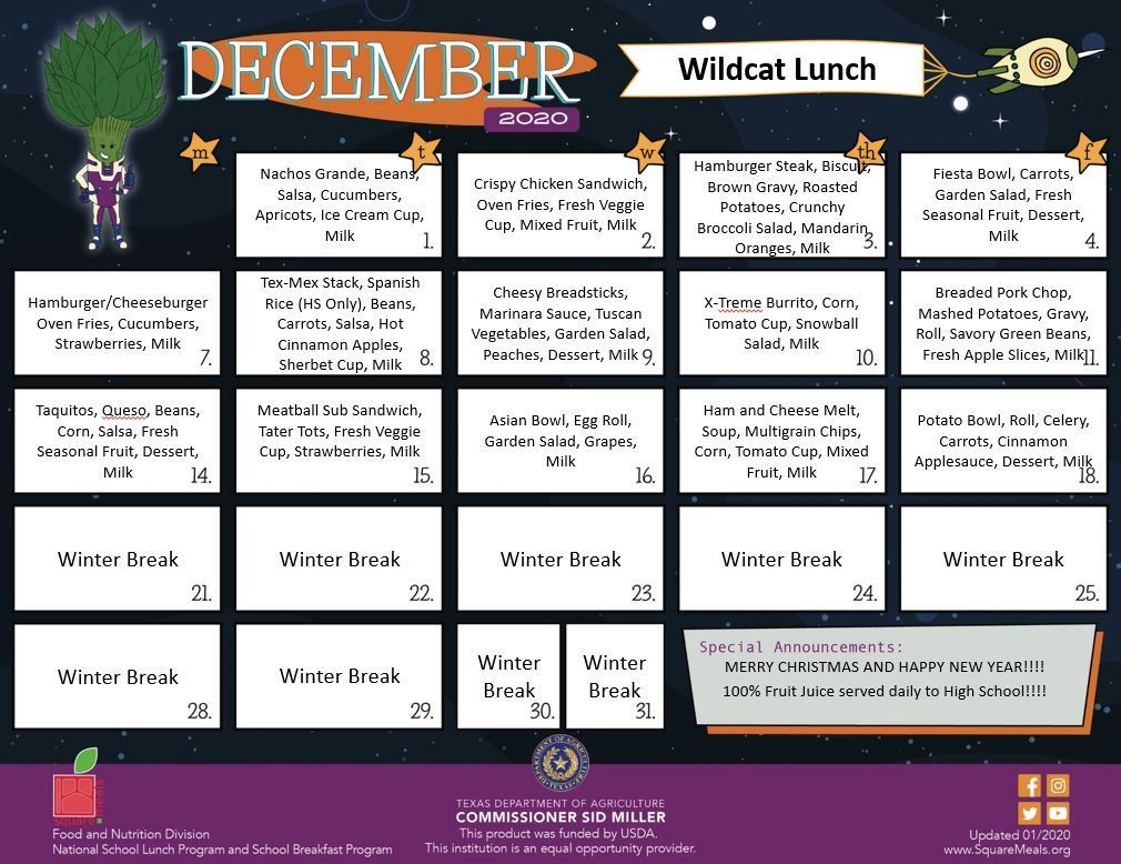 December lunch menu