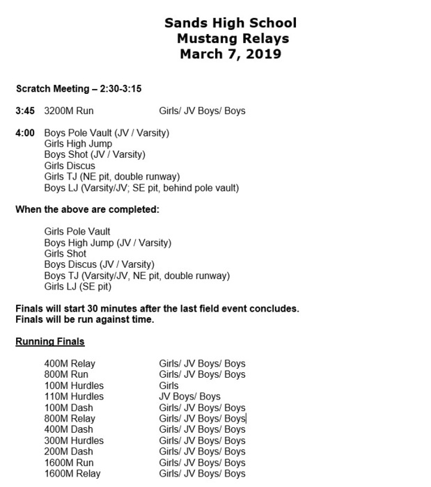 Sands Track Meet schedule