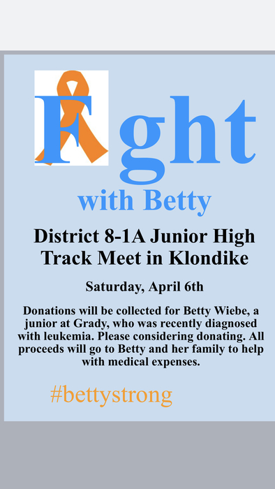 Junior High Track Meet to benefit Betty Weibe and her family!