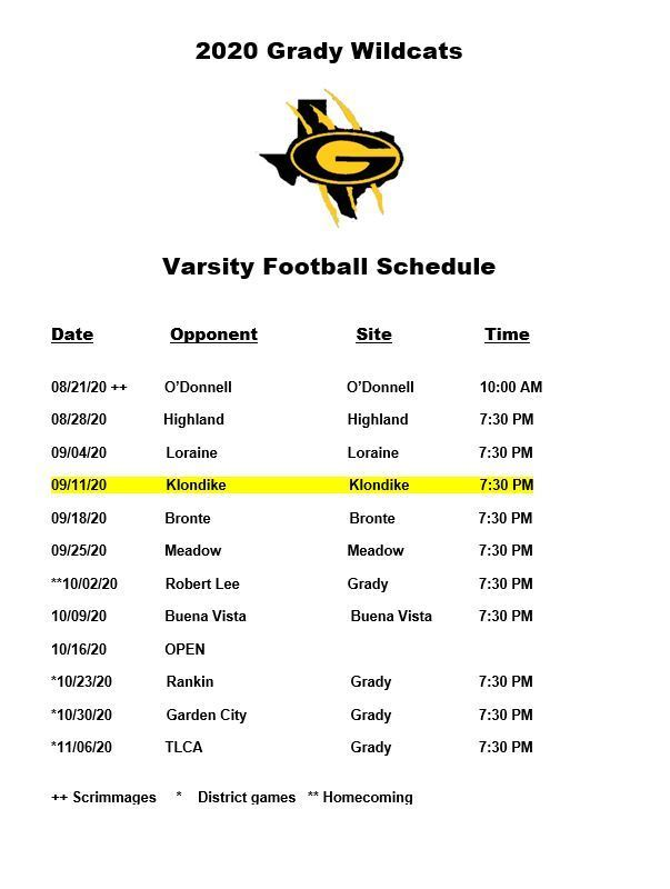 updated FB schedule